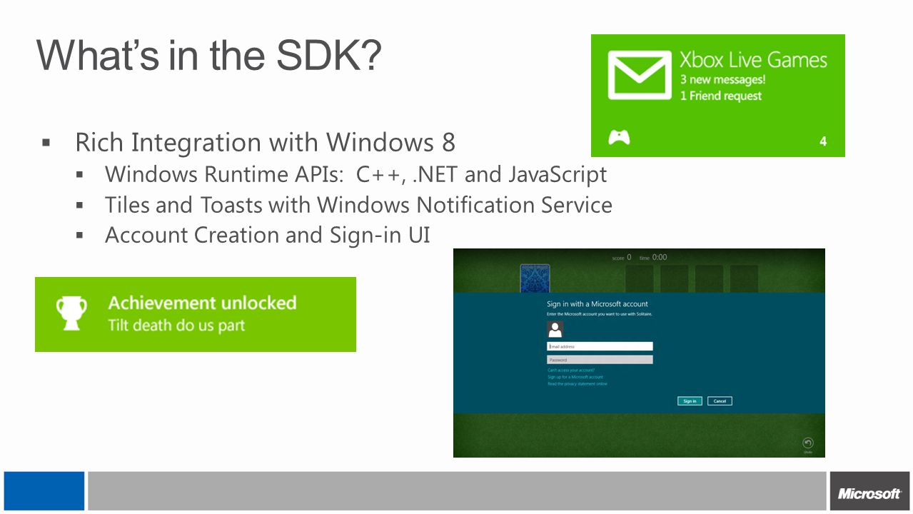 What's in the SDK Rich Integration with Windows 8