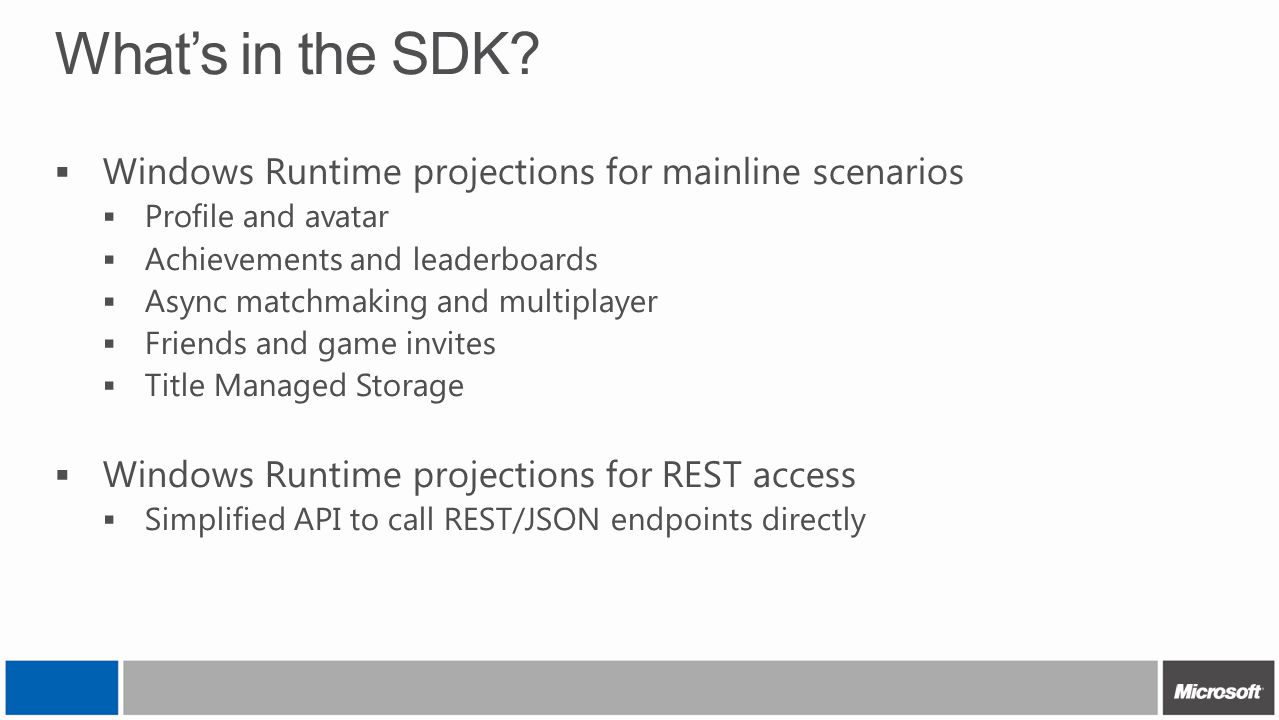 What's in the SDK Windows Runtime projections for mainline scenarios