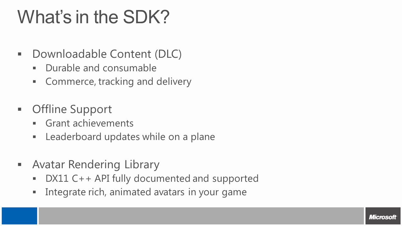 What's in the SDK Downloadable Content (DLC) Offline Support