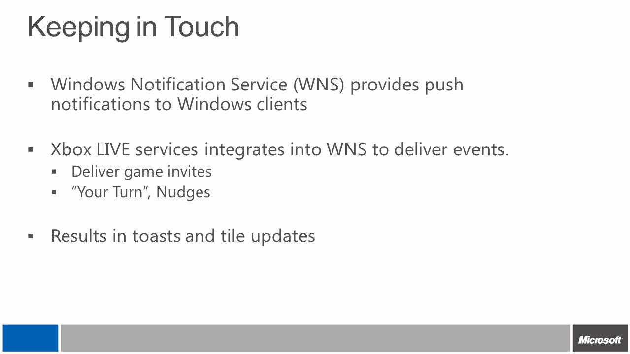 Keeping in Touch Windows Notification Service (WNS) provides push notifications to Windows clients.
