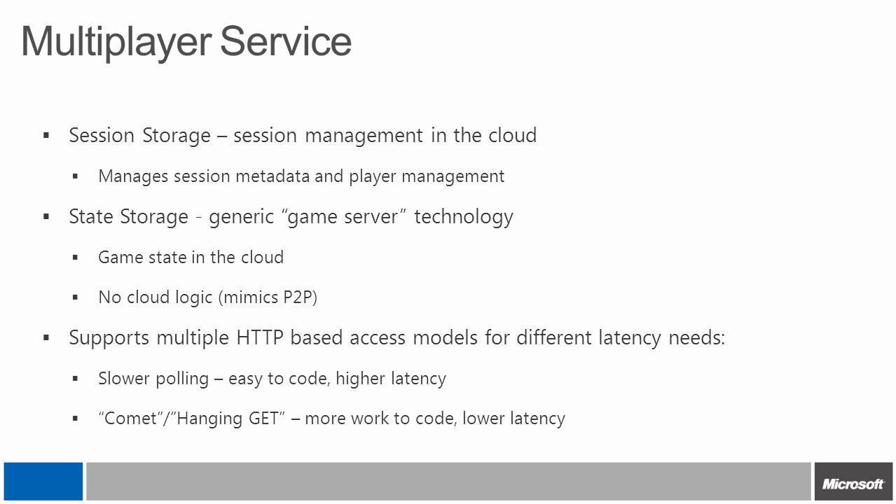 Multiplayer Service Session Storage – session management in the cloud