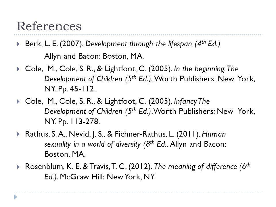 References Berk, L. E. (2007). Development through the lifespan (4th Ed.) Allyn and Bacon: Boston, MA.