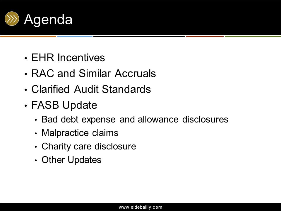 Agenda EHR Incentives RAC and Similar Accruals