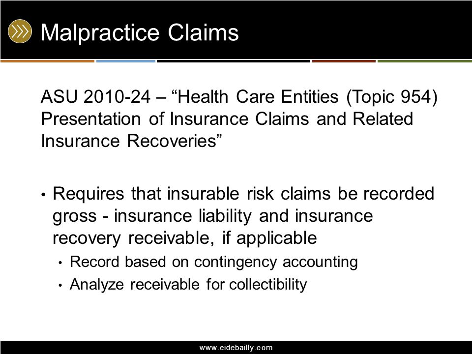 Malpractice Claims ASU 2010-24 – Health Care Entities (Topic 954) Presentation of Insurance Claims and Related Insurance Recoveries