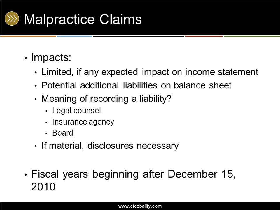Malpractice Claims Impacts: