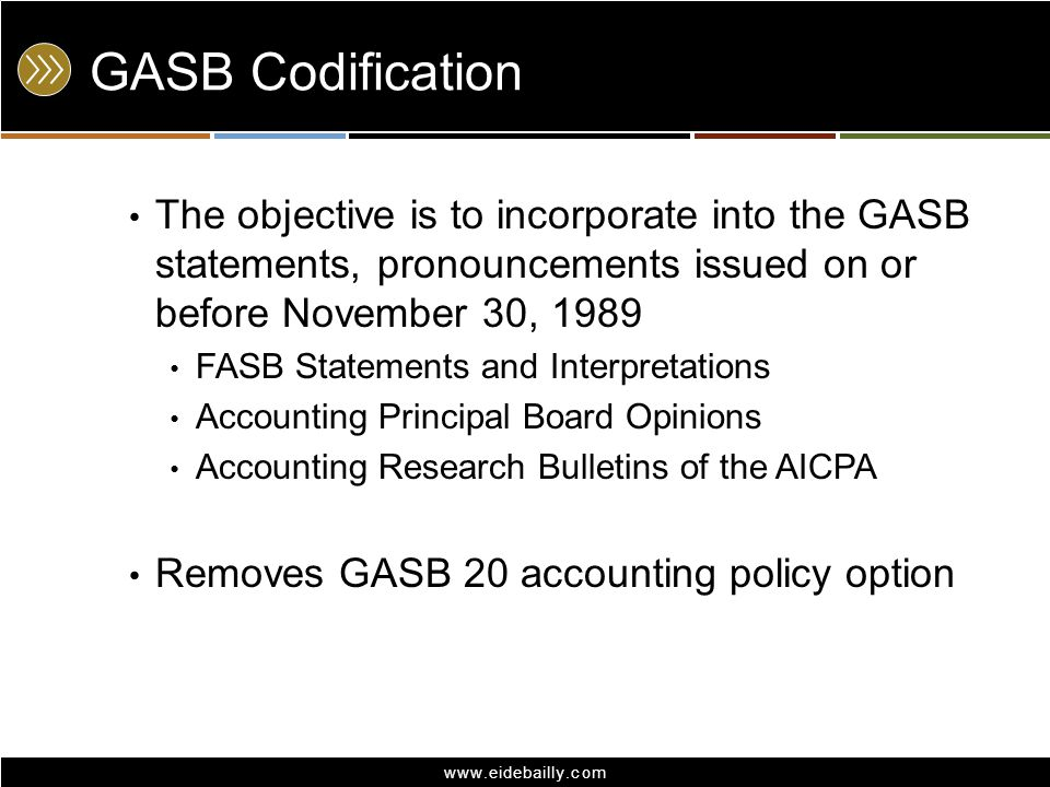 GASB Codification The objective is to incorporate into the GASB statements, pronouncements issued on or before November 30, 1989.