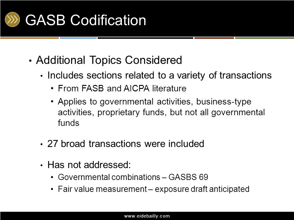 GASB Codification Additional Topics Considered