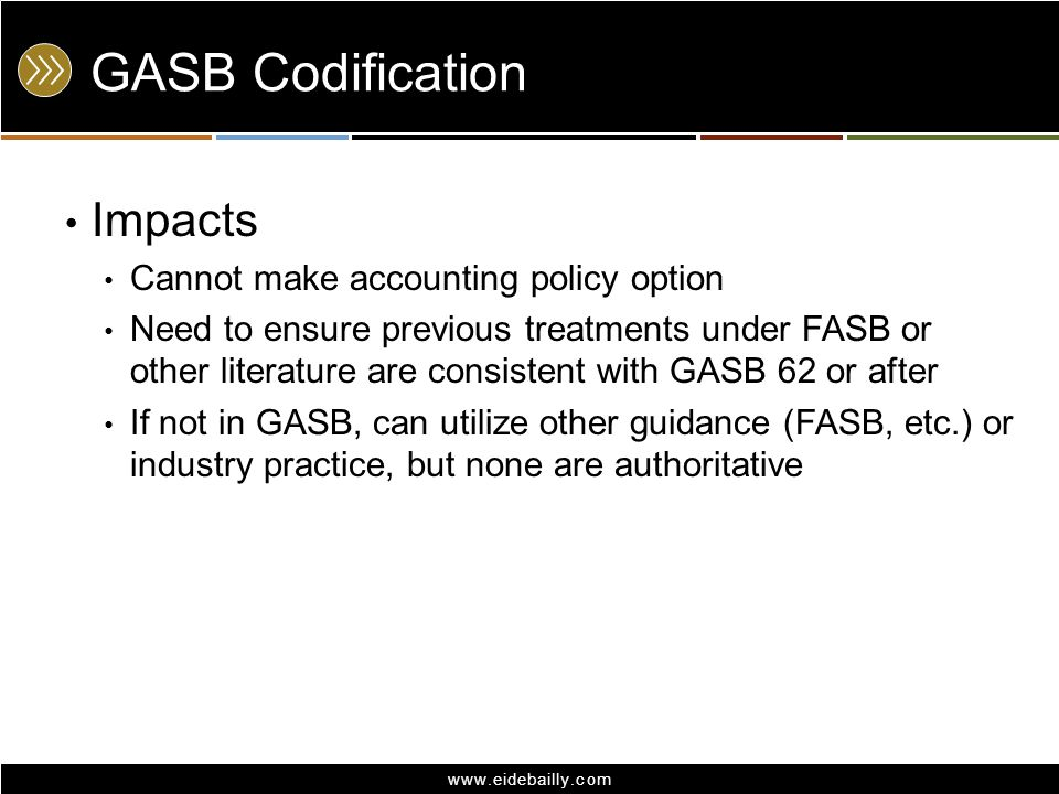 GASB Codification Impacts Cannot make accounting policy option