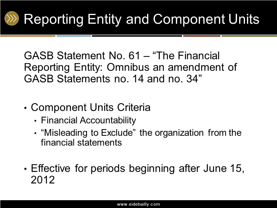 Reporting Entity and Component Units