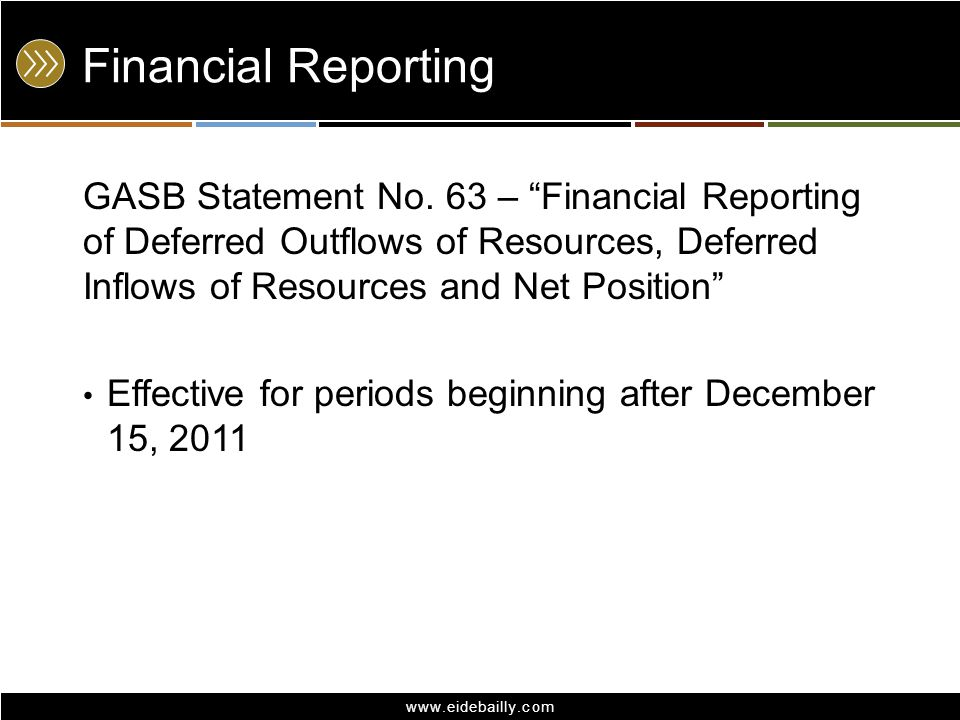 Financial Reporting GASB Statement No. 63 – Financial Reporting of Deferred Outflows of Resources, Deferred Inflows of Resources and Net Position