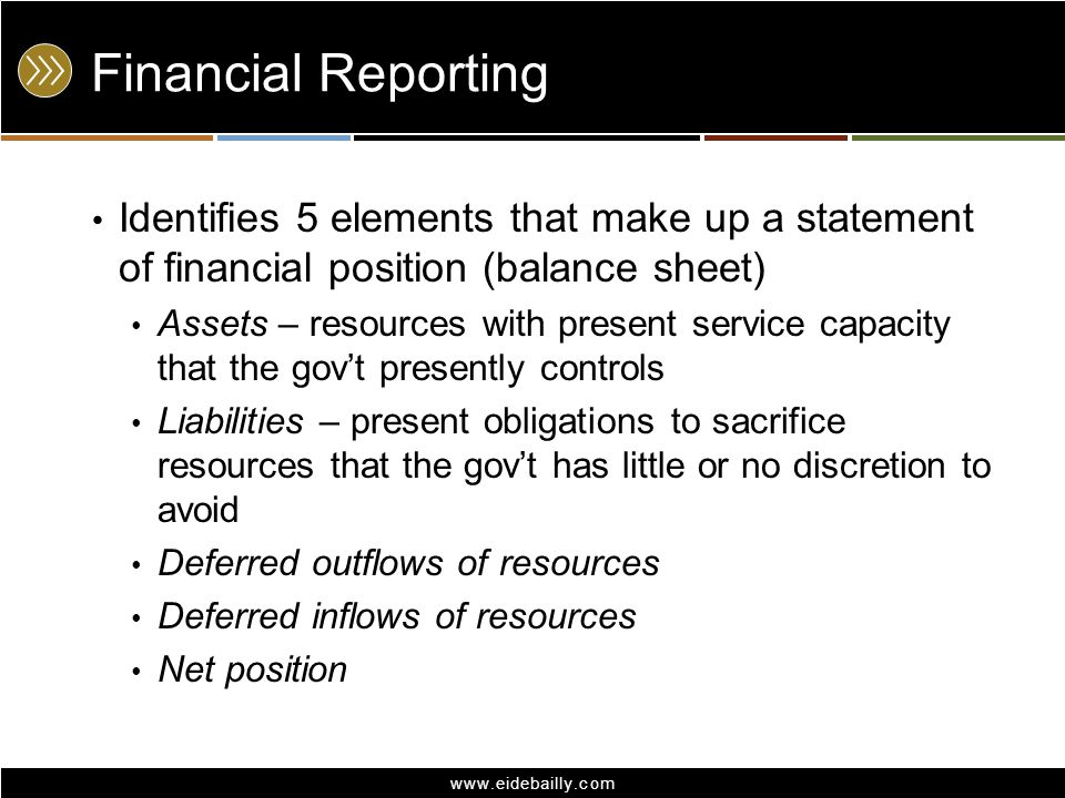 Financial Reporting Identifies 5 elements that make up a statement of financial position (balance sheet)