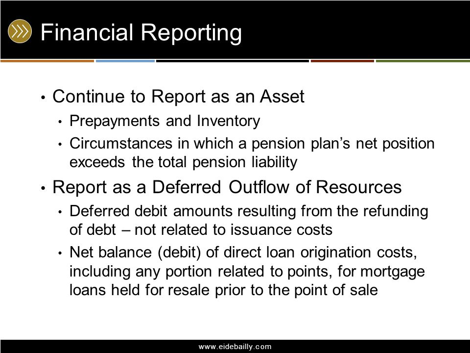 Financial Reporting Continue to Report as an Asset