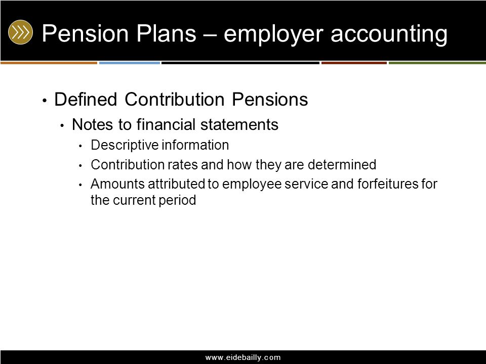 Pension Plans – employer accounting