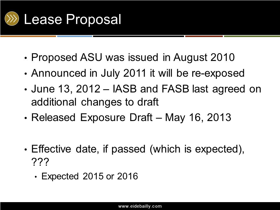 Lease Proposal Proposed ASU was issued in August 2010
