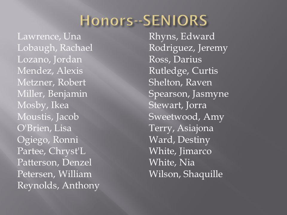 Honors--SENIORS
