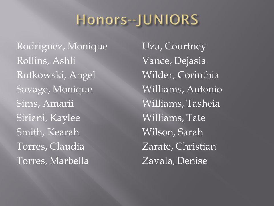 Honors--JUNIORS