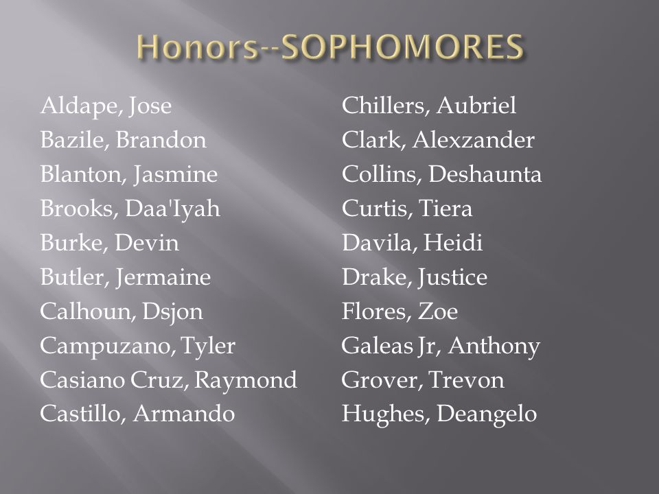 Honors--SOPHOMORES