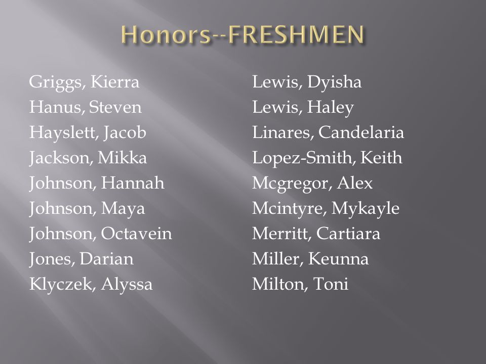 Honors--FRESHMEN