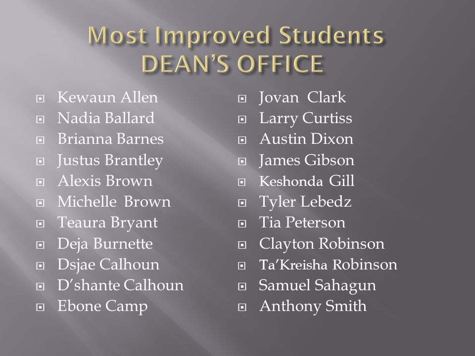 Most Improved Students DEAN'S OFFICE