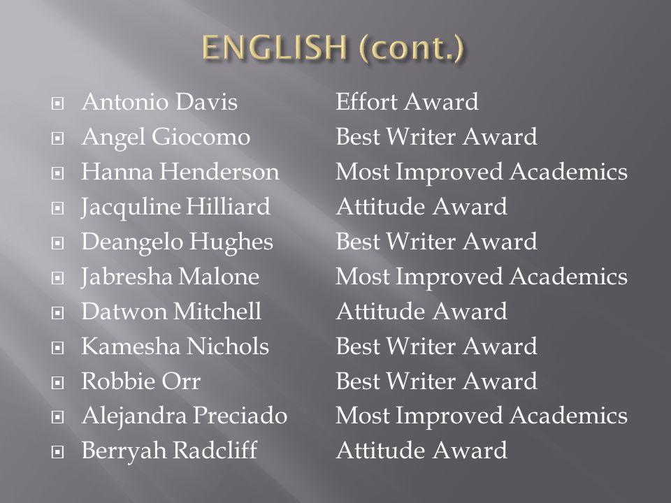 ENGLISH (cont.) Antonio Davis Angel Giocomo Hanna Henderson