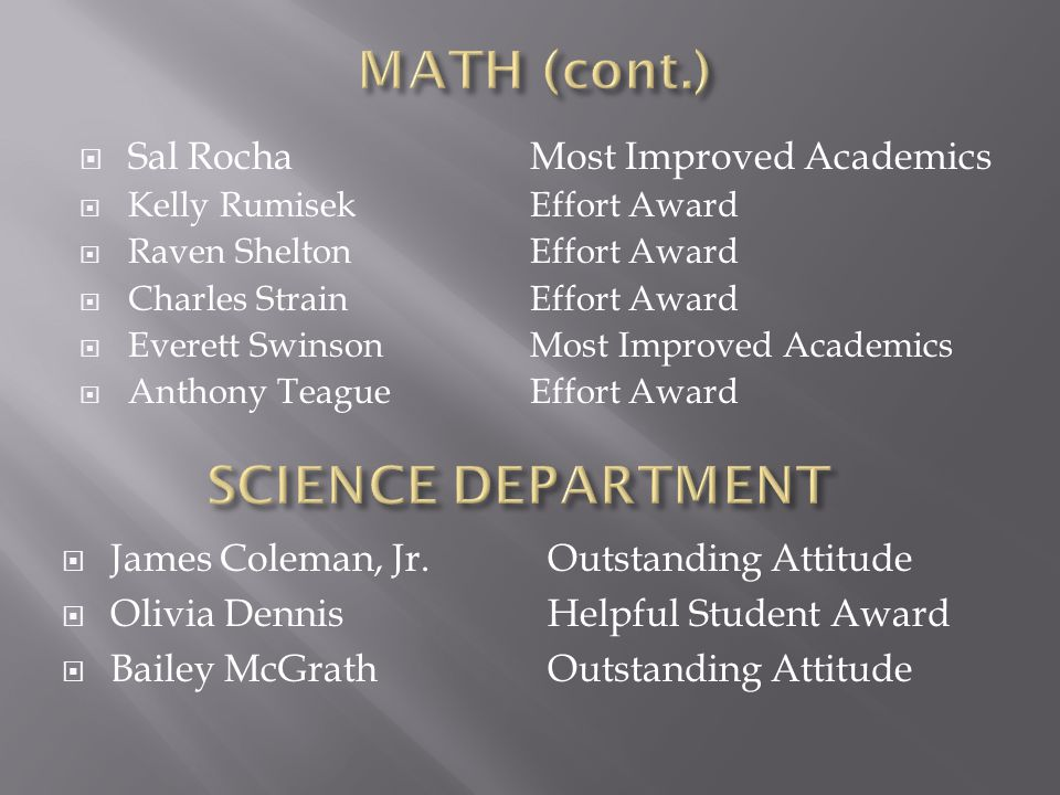 MATH (cont.) SCIENCE DEPARTMENT