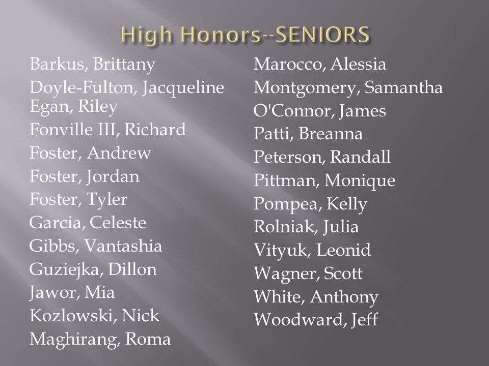 High Honors--SENIORS
