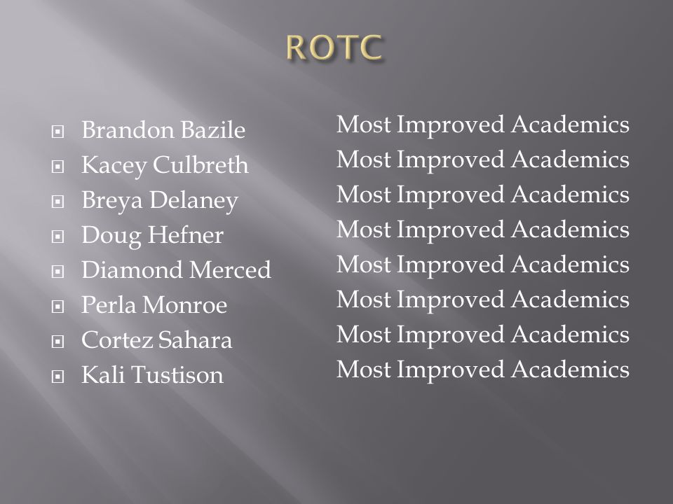ROTC Most Improved Academics Brandon Bazile Kacey Culbreth
