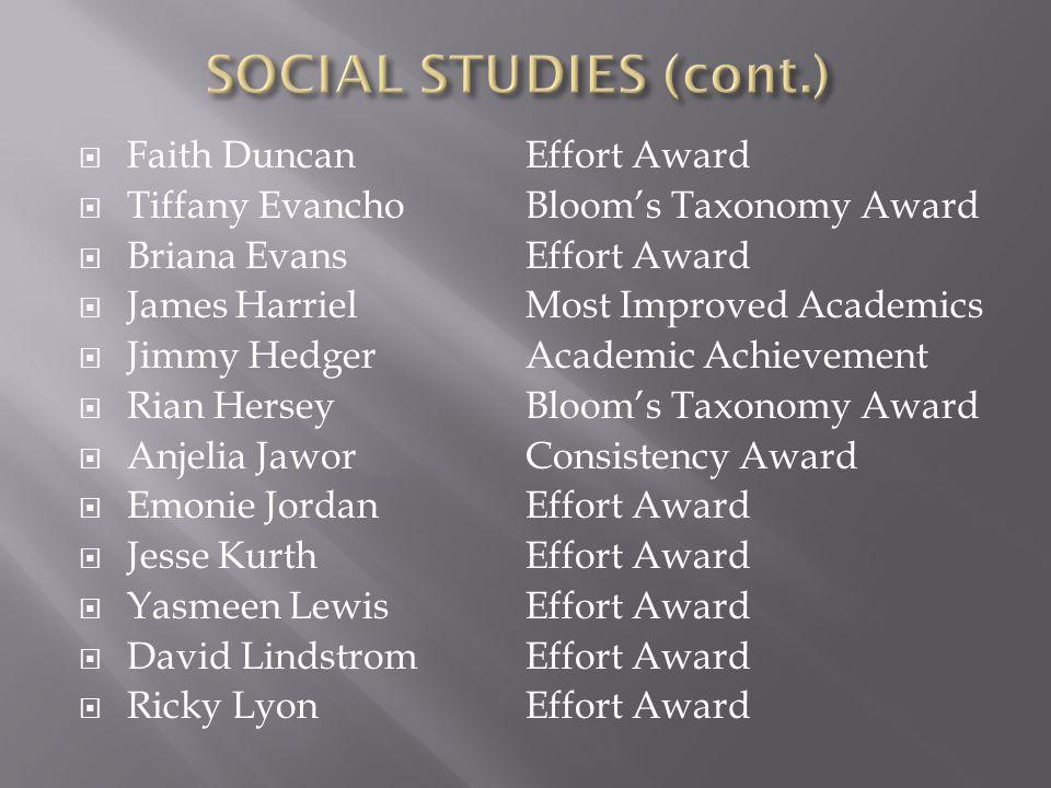 SOCIAL STUDIES (cont.) Faith Duncan Tiffany Evancho Briana Evans