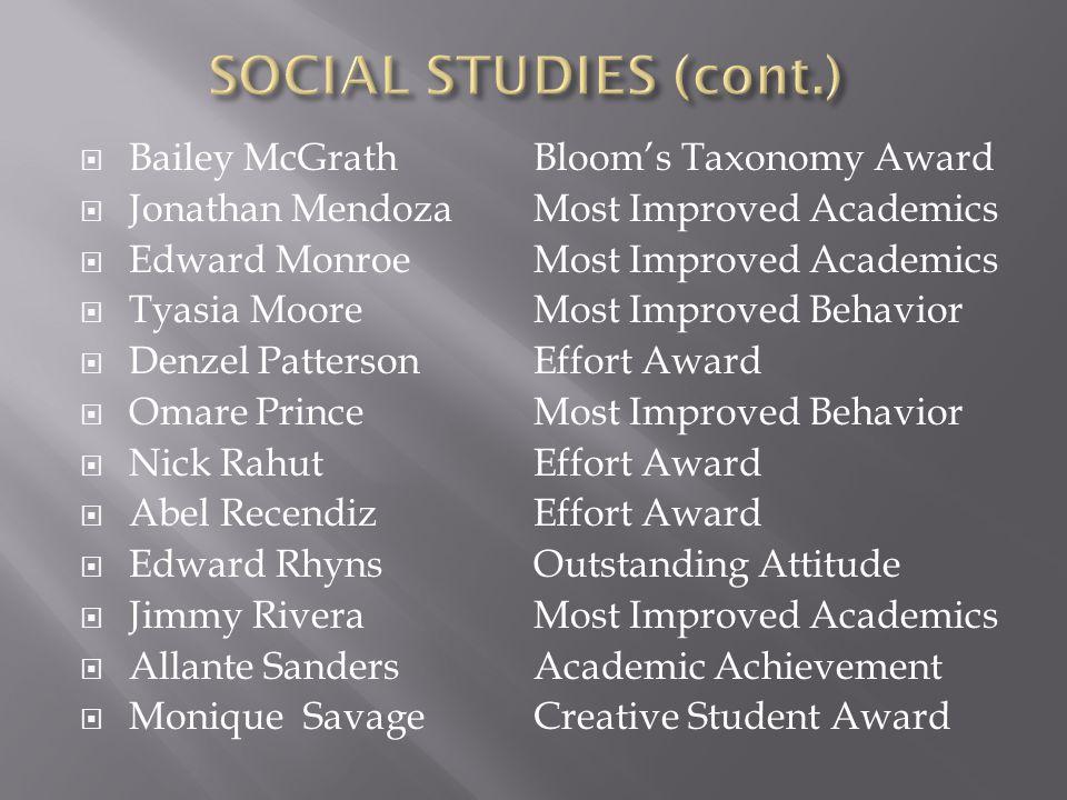 SOCIAL STUDIES (cont.) Bailey McGrath Jonathan Mendoza Edward Monroe