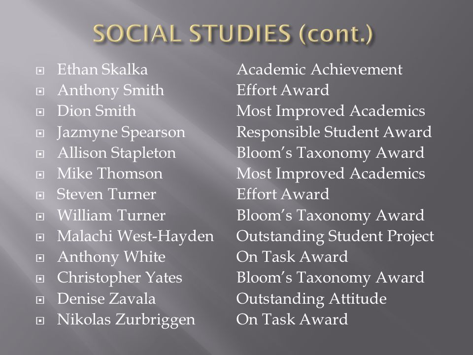 SOCIAL STUDIES (cont.) Ethan Skalka Anthony Smith Dion Smith