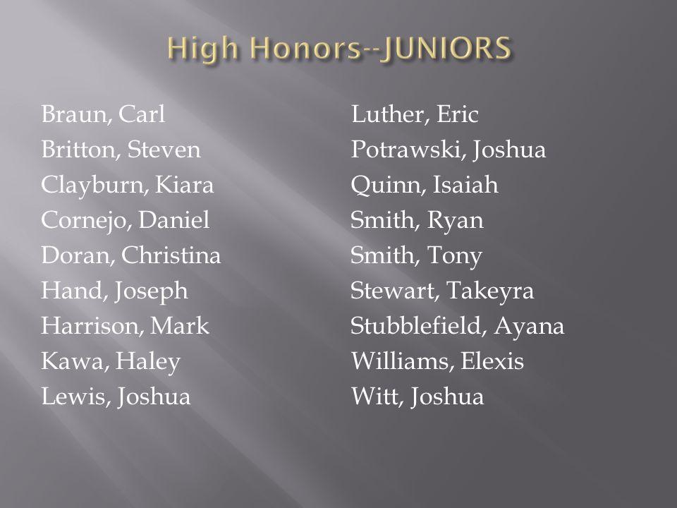 High Honors--JUNIORS