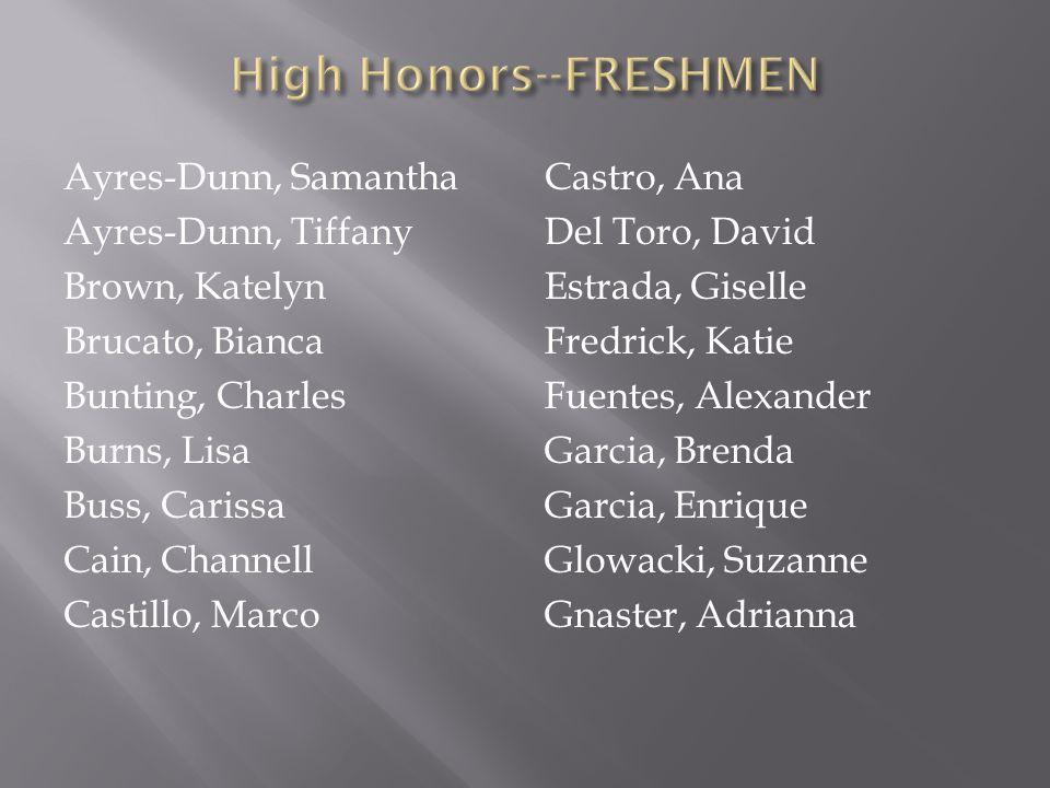 High Honors--FRESHMEN