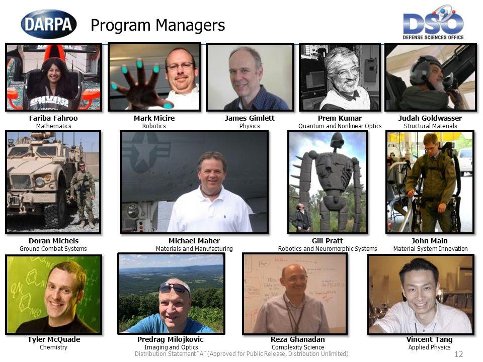 Program Managers 3 columns Look up Bios…. 12 Fariba Fahroo Mark Micire