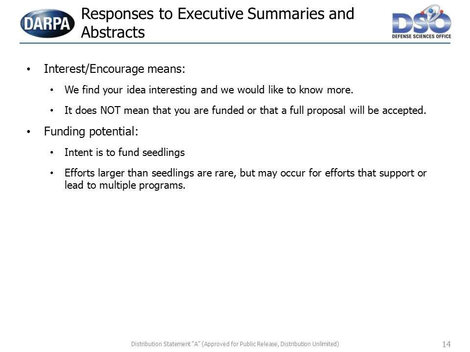 Responses to Executive Summaries and Abstracts