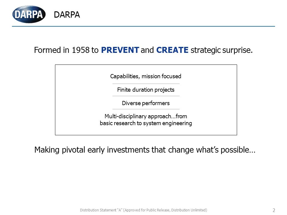 DARPA Formed in 1958 to PREVENT and CREATE strategic surprise.