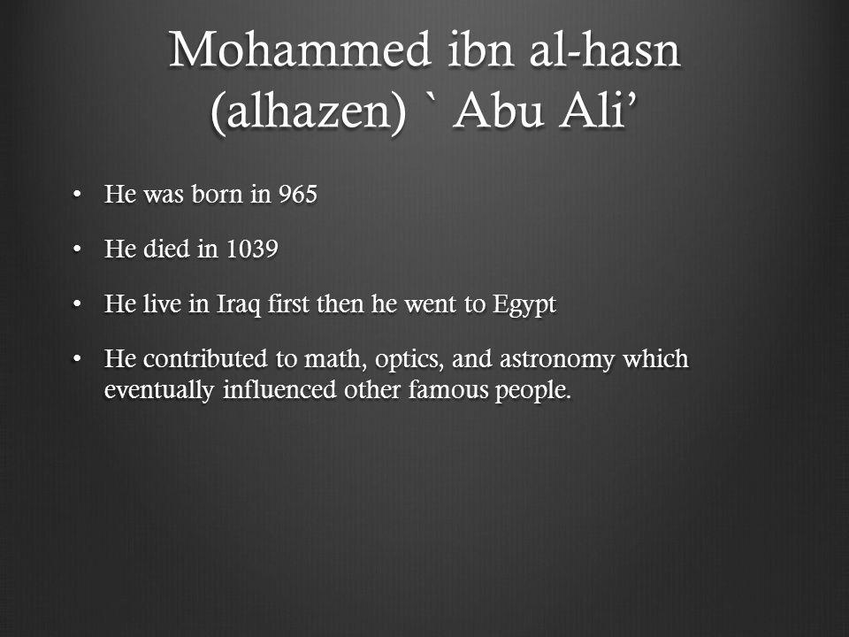Mohammed ibn al-hasn (alhazen) ` Abu Ali'