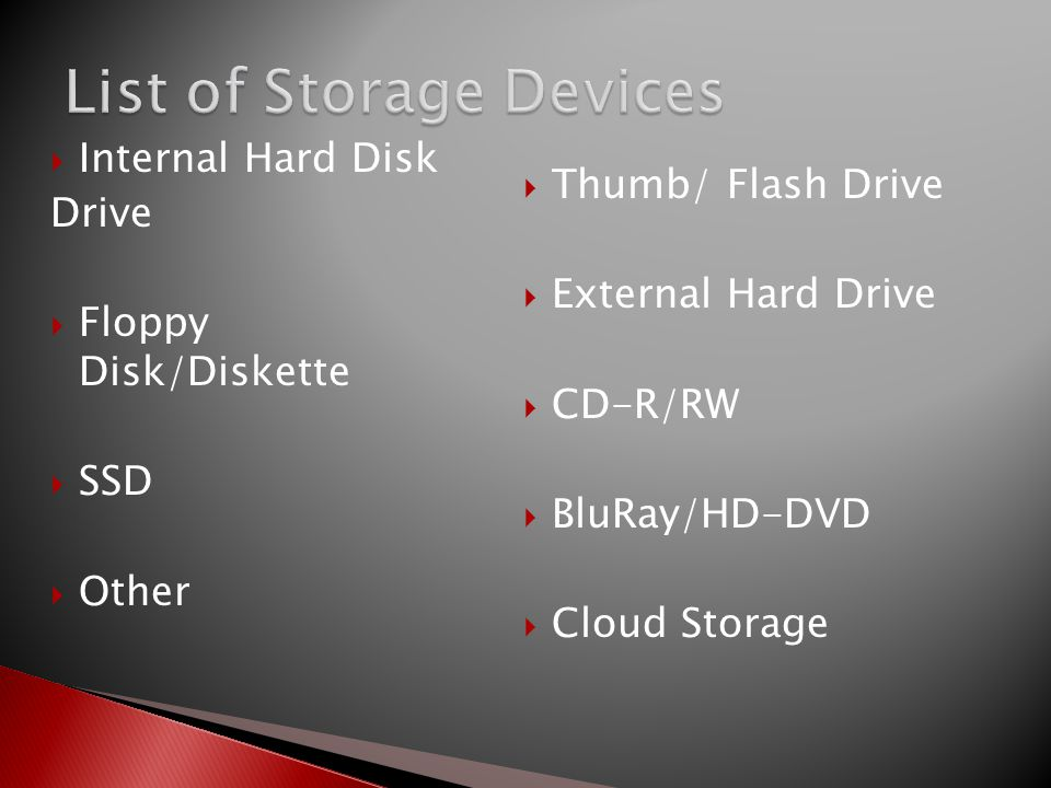 List of Storage Devices