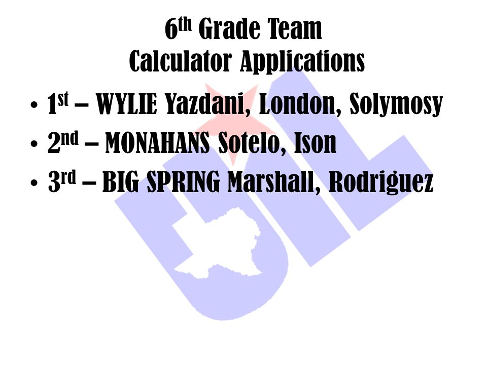 6th Grade Team Calculator Applications