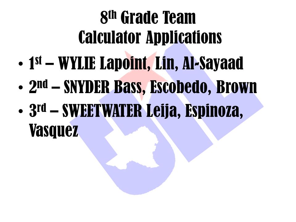 8th Grade Team Calculator Applications