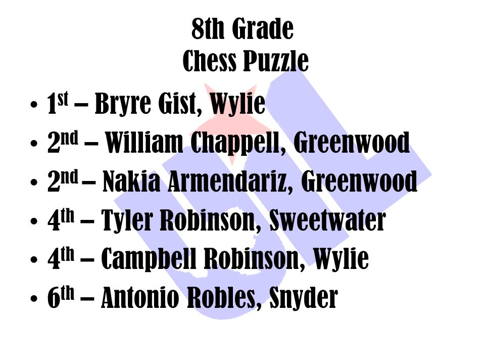 8th Grade Chess Puzzle 1st – Bryre Gist, Wylie. 2nd – William Chappell, Greenwood. 2nd – Nakia Armendariz, Greenwood.