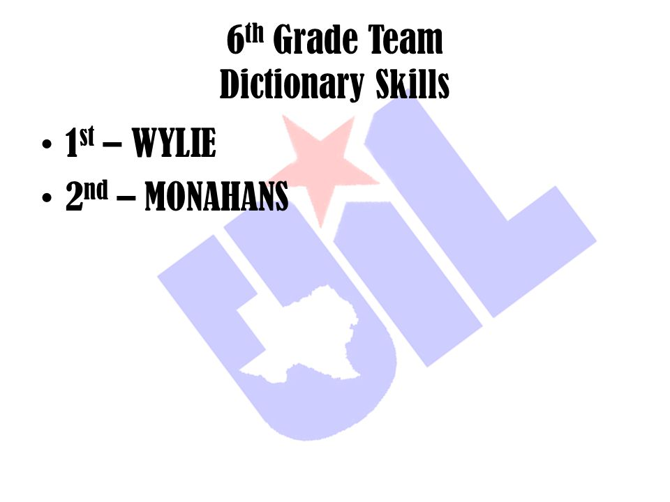 6th Grade Team Dictionary Skills