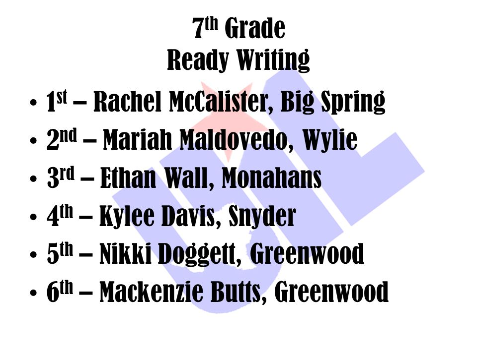 7th Grade Ready Writing 1st – Rachel McCalister, Big Spring. 2nd – Mariah Maldovedo, Wylie. 3rd – Ethan Wall, Monahans.