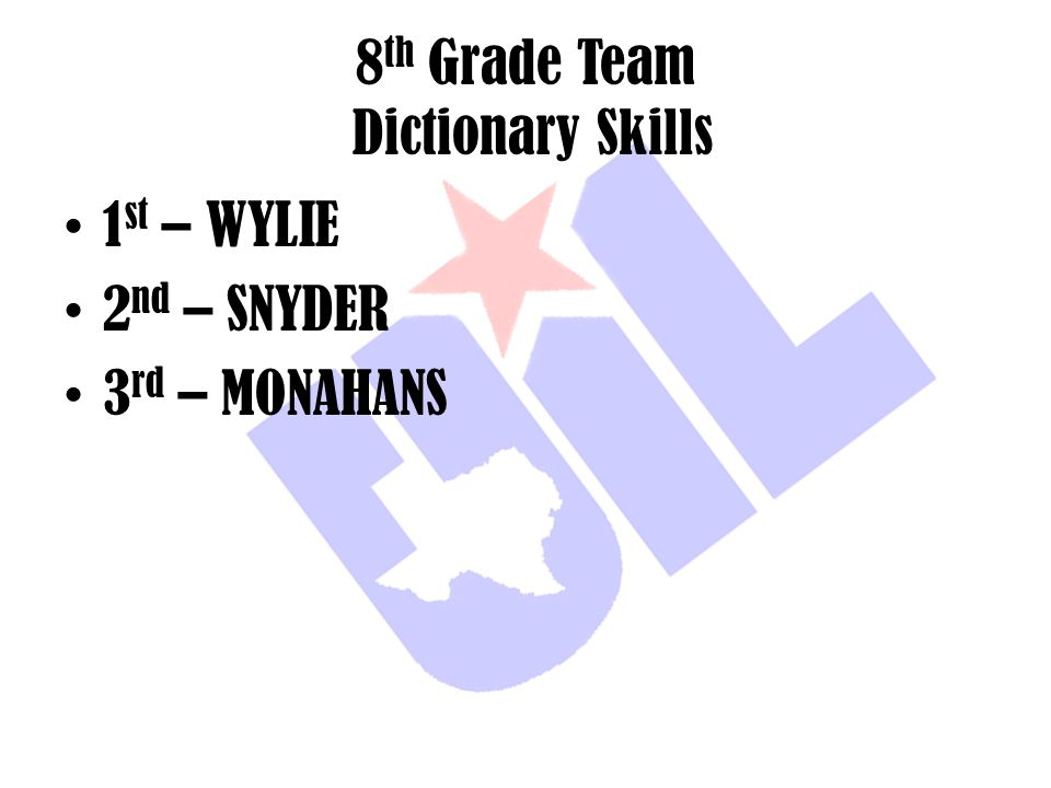 8th Grade Team Dictionary Skills