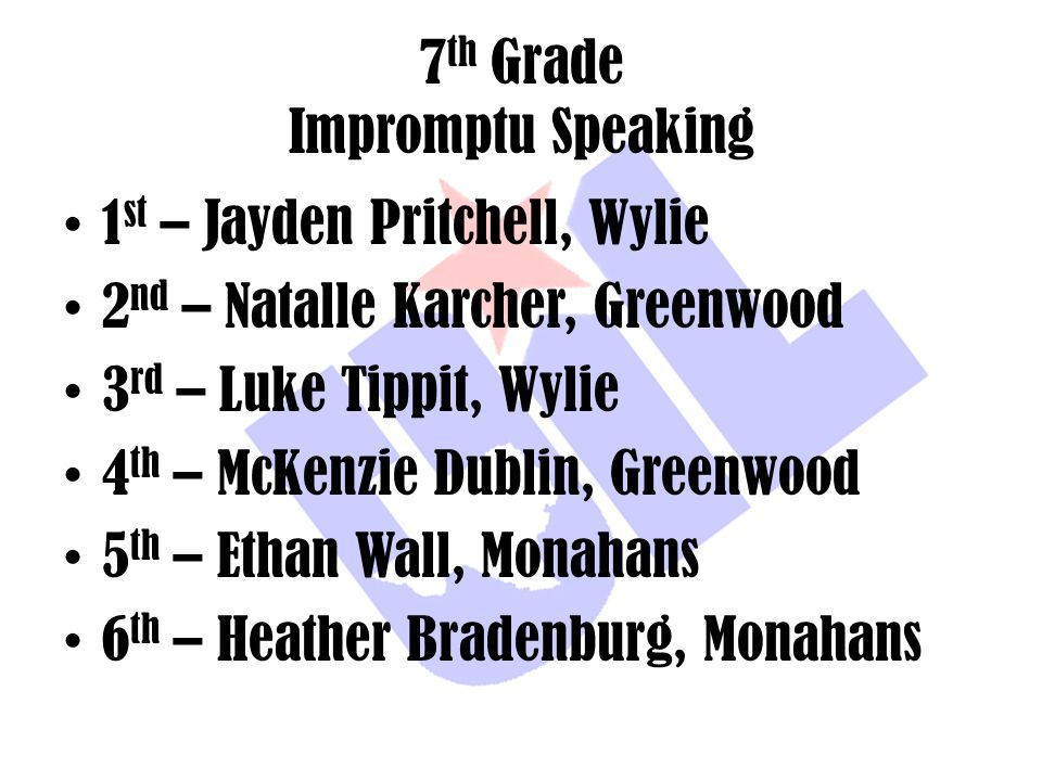 7th Grade Impromptu Speaking