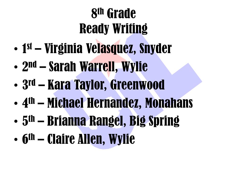 8th Grade Ready Writing 1st – Virginia Velasquez, Snyder. 2nd – Sarah Warrell, Wylie. 3rd – Kara Taylor, Greenwood.