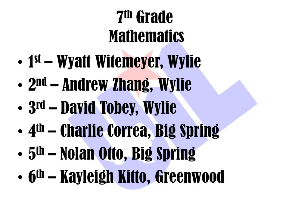 7th Grade Mathematics 1st – Wyatt Witemeyer, Wylie. 2nd – Andrew Zhang, Wylie. 3rd – David Tobey, Wylie.