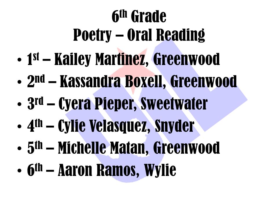 6th Grade Poetry – Oral Reading