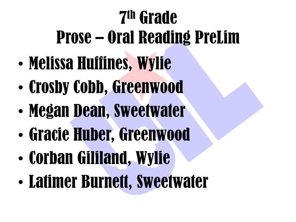 7th Grade Prose – Oral Reading PreLim