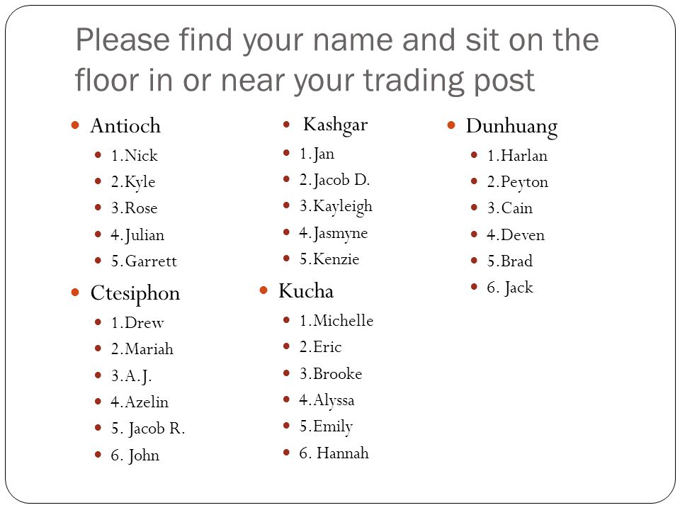 Please find your name and sit on the floor in or near your trading post