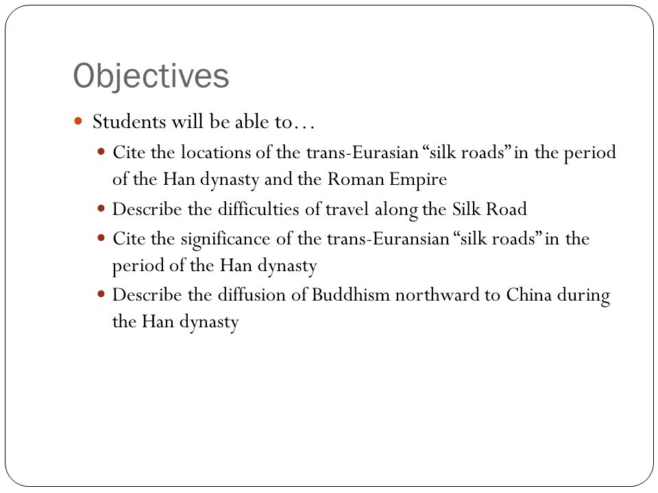 Objectives Students will be able to…